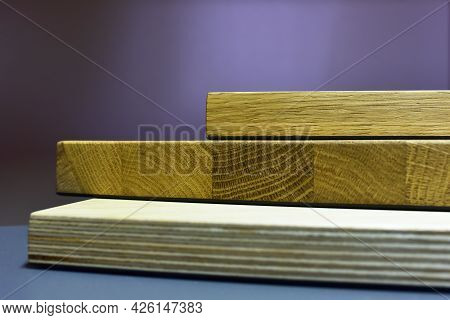Samples Of Solid Wood, Wooden Furniture Mdf And Fiberboards. Building Material For Construction. Woo