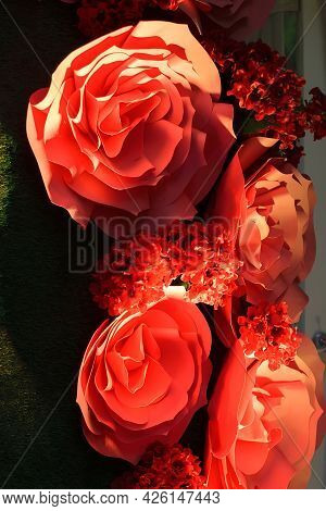 Large Red Decorative Paper Flowers With Backlight