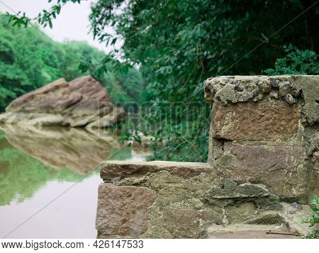 Stone Stair Structure Presented On River Bank Natural Background.