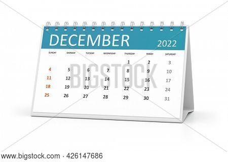 a table calendar for your events 2022 december. 3d illustration