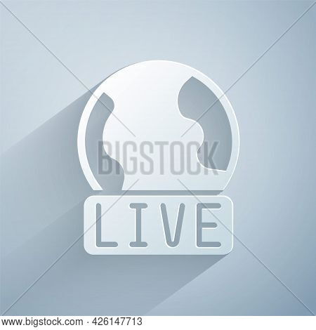 Paper Cut Live Report Icon Isolated On Grey Background. Live News, Hot News. Paper Art Style. Vector