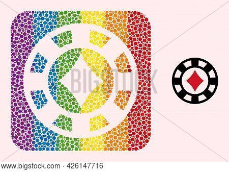 Dotted Mosaic Diamonds Casino Chip Subtracted Pictogram For Lgbt. Rainbow Colored Rounded Square Mos