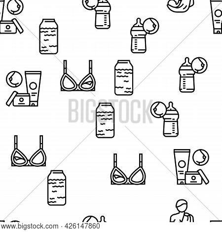 Breastfeeding Baby Vector Seamless Pattern Thin Line Illustration