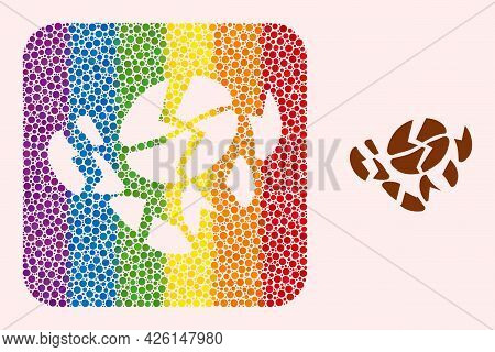 Dot Mosaic Coffee Bean Destruction Stencil Icon For Lgbt. Rainbow Colored Rounded Square Mosaic Is A