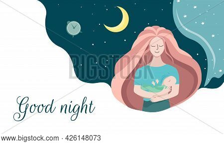 Mom Breast-feeds The Baby At Night. Evening Time. A Child's Restful Sleep. Vector Illustration On A