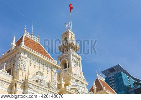 The People\'s Committee Or Ho Chi Minh City Hall With Blue Sky In Ho Chi Minh City , Vietnam.