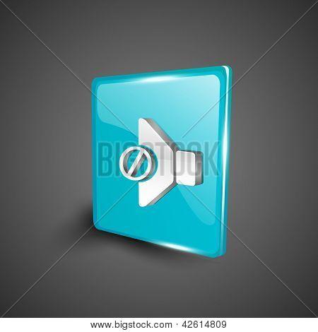 Glossy 3D web 2.0 mute symbol icon set. EPS 10.