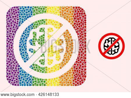 Dot Mosaic Brainless Stencil Icon For Lgbt. Rainbow Colored Rounded Rectangle Mosaic Is Around Brain