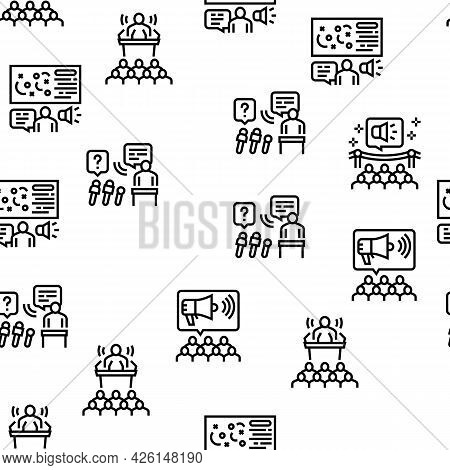 Pr Public Relations Vector Seamless Pattern Thin Line Illustration