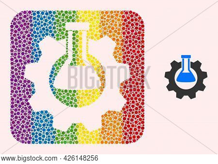Dotted Mosaic Chemical Industry Carved Pictogram For Lgbt. Colored Rounded Rectangle Mosaic Is Aroun