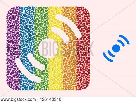 Dot Mosaic Air Turbine Rotation Carved Icon For Lgbt. Color Rounded Square Mosaic Is Around Air Turb