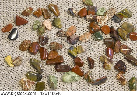 Red And Multicolored Jasper Polished Tumblestones As Nice Natural Background