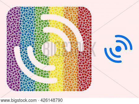 Dot Mosaic Air Cooler Rotation Hole Icon For Lgbt. Colorful Rounded Rectangle Mosaic Is Around Air C