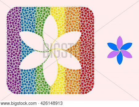 Dot Mosaic Flower Subtracted Pictogram For Lgbt. Color Rounded Rectangle Mosaic Is Around Flower Sub