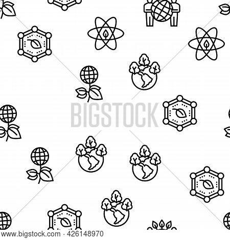 Ecosystem Environment Vector Seamless Pattern Thin Line Illustration