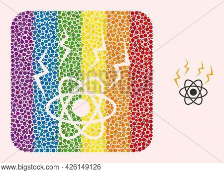 Dot Mosaic Atomic Emission Stencil Pictogram For Lgbt. Colorful Rounded Square Collage Is Around Ato