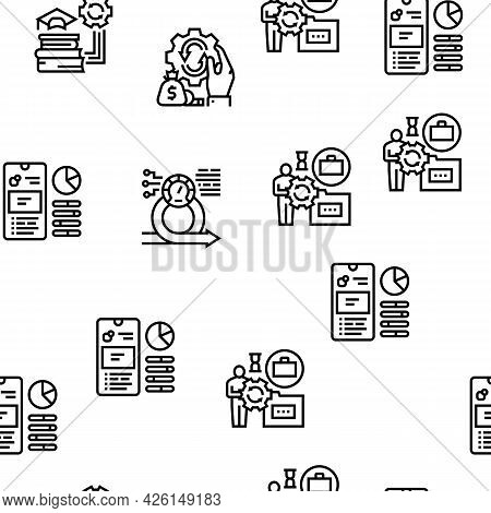 Optimize Operations Vector Seamless Pattern Thin Line Illustration