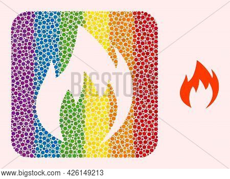Dot Mosaic Fire Flame Subtracted Pictogram For Lgbt. Rainbow Colored Rounded Rectangle Collage Is Ar