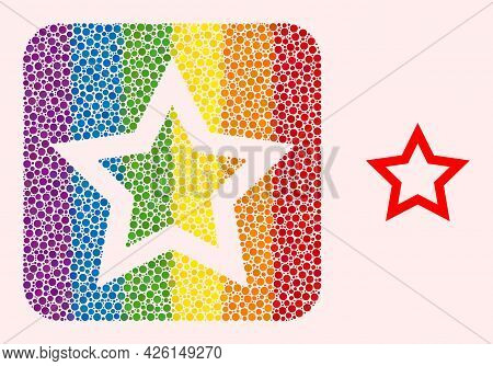 Dot Mosaic Contour Star Carved Pictogram For Lgbt. Rainbow Colored Rounded Rectangle Mosaic Is Aroun