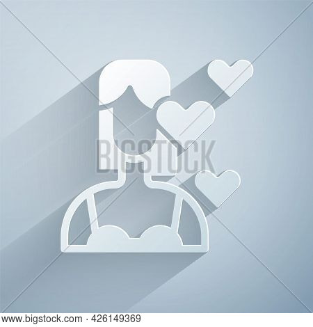Paper Cut Love Yourself Icon Isolated On Grey Background. Self Love. Self Care And Happiness. Paper