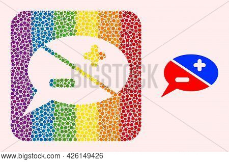 Dotted Mosaic Chat Arguments Subtracted Icon For Lgbt. Color Rounded Square Mosaic Is Around Chat Ar