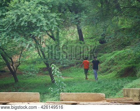 Two Boy Going Together At Forest Field, Wide Angle Nature People Lifestyle Concept.