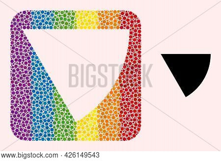 Dotted Mosaic Circle Sector Stencil Pictogram For Lgbt. Color Rounded Rectangle Collage Is Around Ci