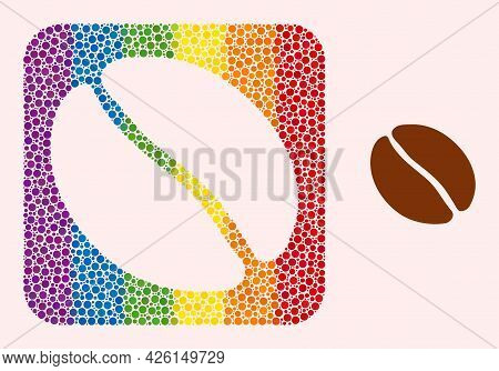Dot Mosaic Coffee Bean Hole Pictogram For Lgbt. Rainbow Colored Rounded Square Collage Is Around Cof