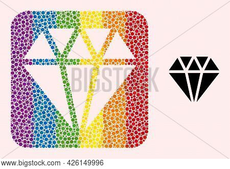 Dotted Mosaic Adamant Crystal Stencil Icon For Lgbt. Colorful Rounded Rectangle Mosaic Is Around Ada