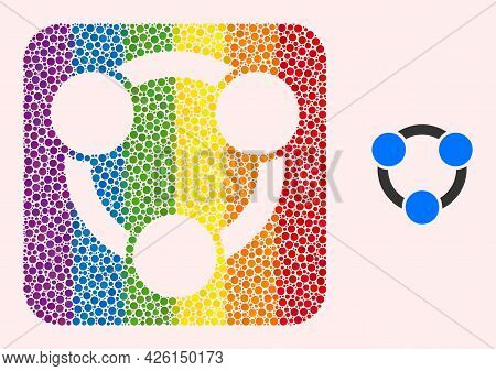 Dotted Mosaic Collaboration Hole Icon For Lgbt. Multicolored Rounded Square Mosaic Is Around Collabo