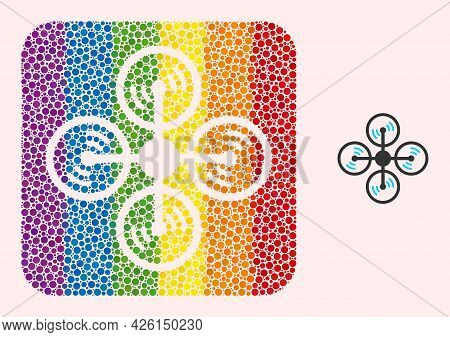 Dot Mosaic Air Copter Hole Pictogram For Lgbt. Colored Rounded Rectangle Mosaic Is Around Air Copter