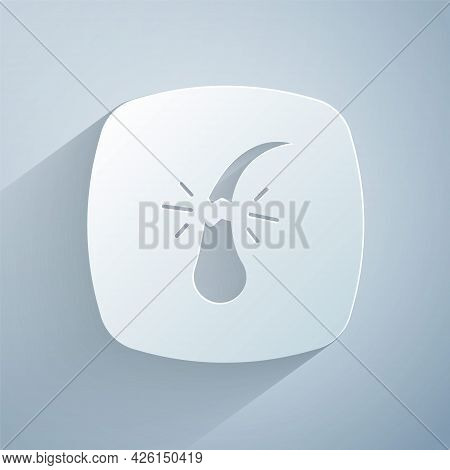 Paper Cut Broken Hair Follicle Icon Isolated On Grey Background. Hair Care Treatment. Paper Art Styl