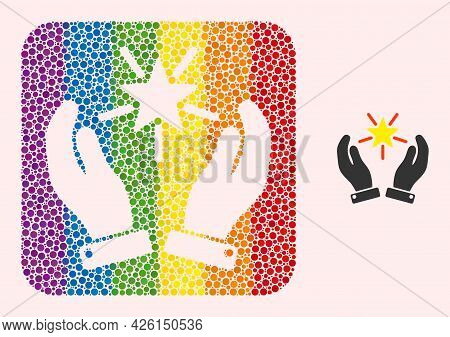 Dotted Mosaic Shine Star Care Hands Carved Icon For Lgbt. Colored Rounded Rectangle Mosaic Is Around