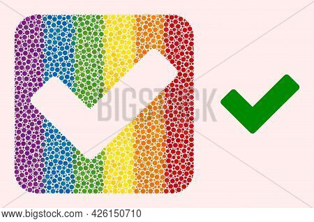 Dotted Mosaic Ok Sign Hole Pictogram For Lgbt. Colored Rounded Square Mosaic Is Around Ok Sign Carve