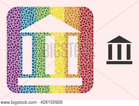 Dot Mosaic Library Building Subtracted Pictogram For Lgbt. Colored Rounded Rectangle Mosaic Is Aroun