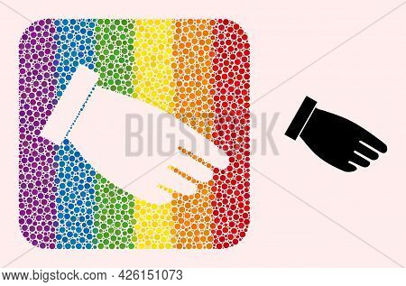 Dot Mosaic Hand Palm Subtracted Icon For Lgbt. Rainbow Colored Rounded Rectangle Mosaic Is Around Ha