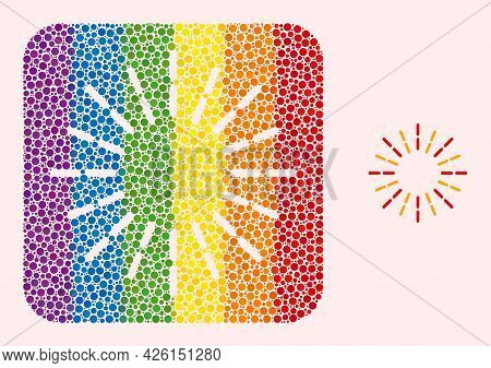Dot Mosaic Shine Rays Subtracted Pictogram For Lgbt. Rainbow Colored Rounded Square Mosaic Is Around
