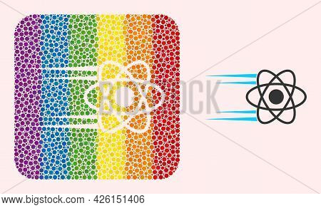 Dot Mosaic Rush Atom Stencil Icon For Lgbt. Rainbow Colored Rounded Rectangle Mosaic Is Around Rush