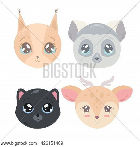 Set Of Cute Childish Portrait Of Cat, Lemur, Squirrel And Deer. Flat Illustration For Sticker And Gr