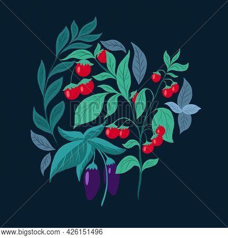 Flat Illustration Of Vegetables On A Dark Green Background. Cherry Tomato Bush, Eggplant, Basil And