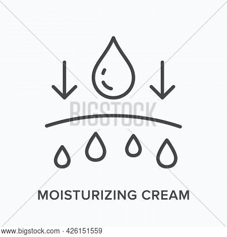 Moisturiser Cream Flat Line Icon. Vector Outline Illustration Of Skin And Drops. Black Thin Linear P