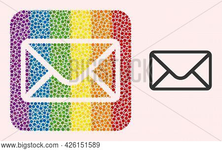Dot Mosaic Mail Envelope Carved Icon For Lgbt. Color Rounded Square Mosaic Is Around Mail Envelope C
