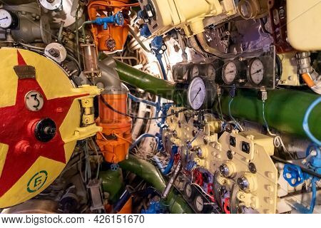 Kaliningrad, Russia-june 2021. Museum Of The Submarine B-413. View Of The Torpedo Compartment On A S