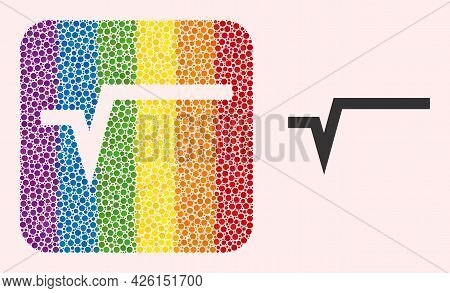 Dotted Mosaic Square Root Stencil Pictogram For Lgbt. Rainbow Colored Rounded Square Collage Is Arou