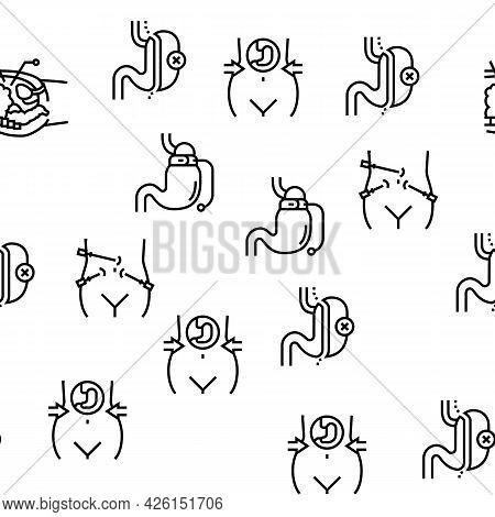 Bariatric Surgery Vector Seamless Pattern Thin Line Illustration