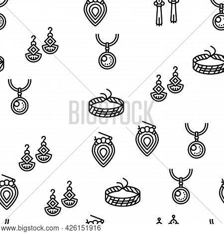 Handmade Jewellery Vector Seamless Pattern Thin Line Illustration