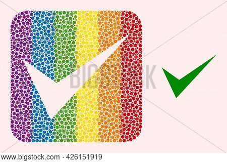 Dot Mosaic Yes Sign Carved Icon For Lgbt. Color Rounded Square Mosaic Is Around Yes Sign Carved Shap