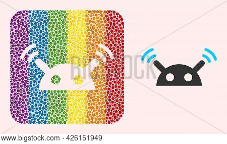 Dotted Mosaic Robot Radio Signal Hole Icon For Lgbt. Rainbow Colored Rounded Square Mosaic Is Around