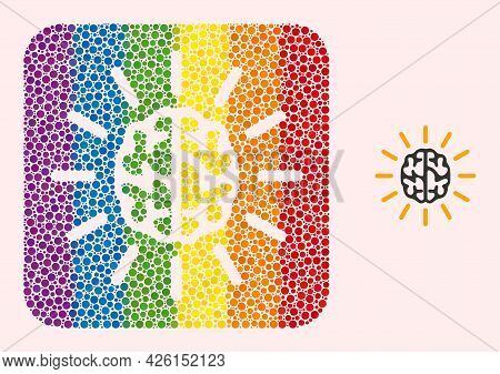 Dot Mosaic Mind Light Stencil Icon For Lgbt. Rainbow Colored Rounded Square Mosaic Is Around Mind Li