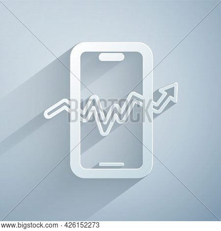 Paper Cut Mobile Stock Trading Concept Icon Isolated On Grey Background. Online Trading, Stock Marke